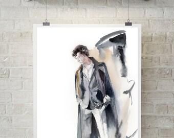 Sherlock Holmes Benedict Cumberbatch Art Print, watercolor painting print, movie characters art, wall art, giclee print