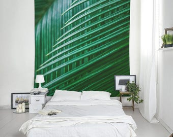 Nature Tapestry, Green Leaf Print, Hanging Tapestry, Green Wall Art, Large Room Decor, Small Tapestries