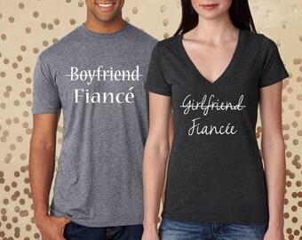 girlfriend fiancee, boyfriend fiance, engaged gift, engagement proposal, engaged shirts, engaged couple, engaged, engagement, fiance shirt