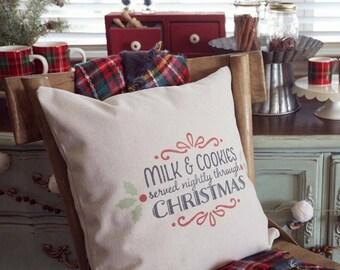 Christmas Cookies Farmhouse Pillow Cover | Milk & Cookies Christmas Pillow Cover | Rustic Christmas Farmhouse Pillow Cover