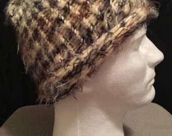 Black Brown Vanilla Super Soft Hand-Knitted Beanie Slouchy Hat