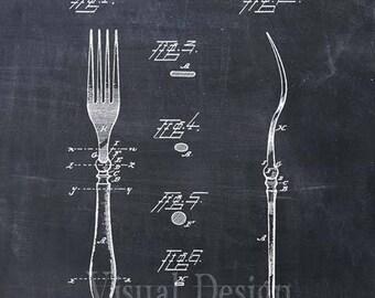 Fork Patent Print - Art Print - Patent Poster - Kitchen Art - Kitchen Decor - Kitchen Poster - Dining Room Art