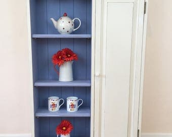 Painted Pine Bookcase, Painted Pine Cupboard, Pine Cabinet, CD Cabinet, CD Cupboard, CD Storage, White Cupboard, Blue Cupboard