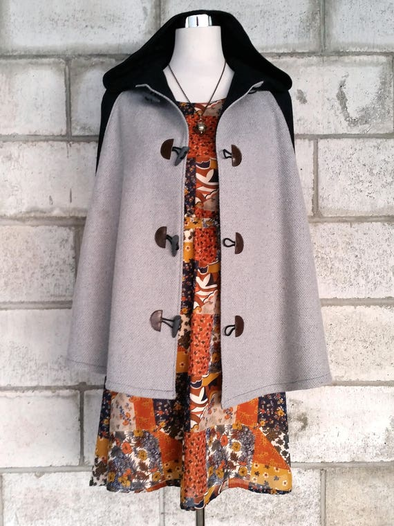 Grey Wool Cape, Cloak, Poncho, Coat with Hood and Toggles.