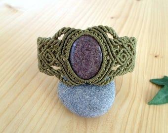 Jasper macrame bracelet, macrame jewelry, hippie bracelet, macrame stone, gemstone bracelet, jasper jewelry, tribal bracelet, macrame armlet