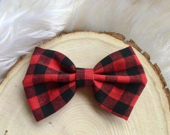 Red Checkered Plaid Bow, Plaid Hair Bow