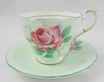 Paragon Green Tea Cup and Saucer with Large Pink Rose, Bone China, Double Royal Warrant