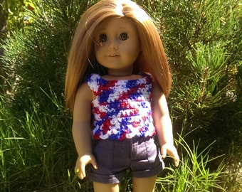 Handmade Patriotic Ombre Tank TOP for 18in doll