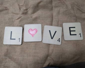 Love Scrabble Letter Photo Booth Prop Set for Weddings, Engagement, Anniversary Photo Booth 013-079