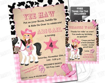 Cowgirl Party Birthday Custom Printable Invitation with FREE Thank you Matching Tag-  Cowgirl Party DIY Invitation