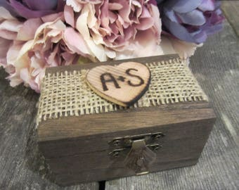Rustic wooden ring bearer box, ring bearer pillow, burlap wedding decor, personalized wedding ring box, engagement ring box, proposal box