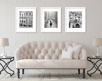 Venice Italy, Set of 3 Prints, Venice Wall Art, Venice Print Set, Black and White Photography, Europe Decor, Vertical Prints, SALE