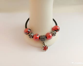 Bracelet charm's red leather with Heart Rhinestone ref 875