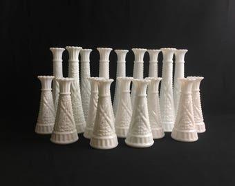 WEDDING | Eighteen Milk Glass Bud Vases | Stars and Bars | Anchor Hocking