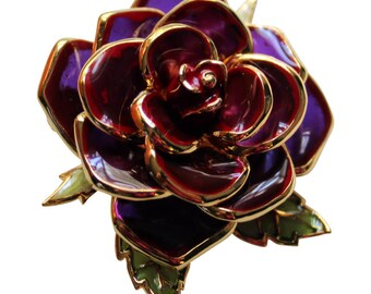 Vintage Joan Rivers Enameled Burgundy Rose Brooch/Pin Flower Brooch Rose Brooch Joan Rivers Jewelry Bridal Pin Vintage Joan Rivers