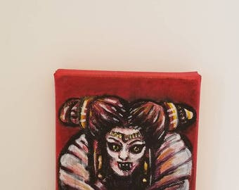 Elizabethan Vampire Acrylic Painting --- 4x4 --- Stretched Cotton Canvas