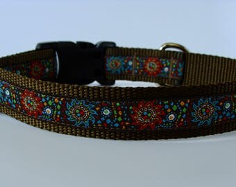 Brown Celestial Jacquard Dog Collar - Ready to Ship!