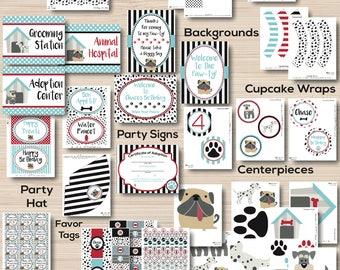 Puppy Party - Puppy Birthday Party - Dog Birthday - Puppy Party Decorations - 1st birthday - Boy Puppy Birthday - Blue - Puppy Printables
