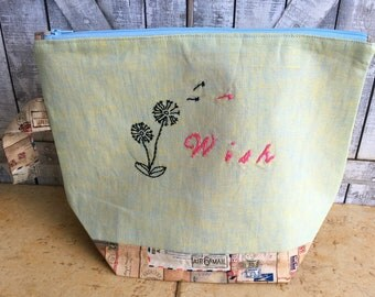 Wish Embroidered Knitting Bag|Crochet Project bag|Hand Embroidered Project bag|Knitting Project Bag|Toad Hollow Bag|Embroidered Linen Bag