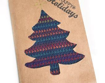 Handmade Christmas card, handwoven card, blank christmas card, blank thank you card, unique gift card, christmas tree card, fun holiday card