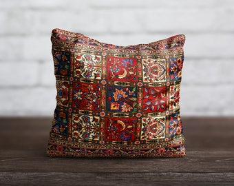 Floral Pillow Persian Carpet PillowCase Red Moroccan Pillow Turkish Cushion Cover Persian Rug Pillow Toss Home Decor Throw Pillow Cover