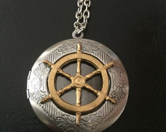 Nautical necklace, ship wheel locket, nautical jewelry, Mariners necklace, steampunk jewelry , pirate jewelry, nautical gift, ocean jewelry