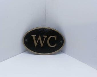 French WC Shabby Chic Toilet Door Sign   Vintage Antique Style Loo Bathroom Water  Closet Old