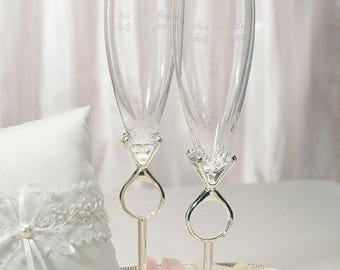 Diamond Ring Design Wedding Toast Champagne Flutes, Champagne Glasses