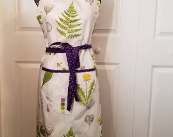 Work Apron, Botanical Print Apron, Purple Polka Dot Accent Apron, Full Coverage Apron, Full Apron, Pocket Apron, MarjorieMae