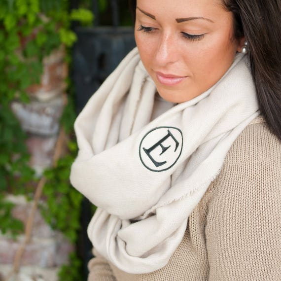 Monogrammed Blanket Infinity Scarf Creme Infinity Scarf Personalized Embroidered Scarf Winter Accessories Cream Off-White Neutral Scarf