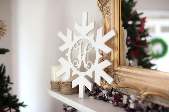 Painted Wood Monogram Door Hanger Snowflake Monogram Initial Wood Monogram Wall Art Christmas Home Decor Monogram Decor Winter Decor