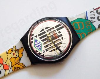 Swatch 'Big Enuff' GB151 watch, 1990s Pop graphics design // 38 USD