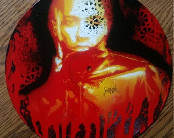 Lupe Fiasco Red Stencil Drip On Repurposed Vinyl Record
