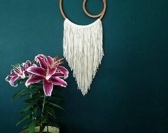Macrame Wall Hanging, wood art, Crescent Moon Dreamcatcher, wall art, Moon art