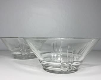 set of two vintage art deco glass bowls