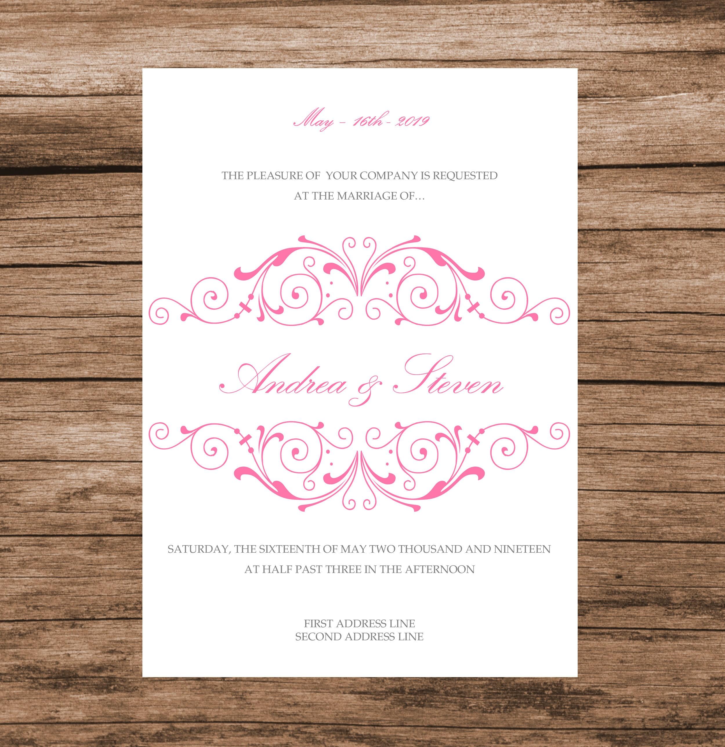 Pink Vintage Wedding Invitation Template, DIY Pink Baby Shower ...