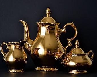 1920s Osborne Golden Crown Tea Set 22K Gold Over Porcelain West Germany