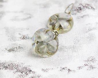 gray earrings/for/her grey jewelry gift aunt rustic earrings terrarium jewelry/for/grandma gift mother birthday flower earrings gift сп5