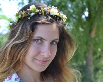 Rustic floral crown Brown flower crown Flower halo Girl flower crown Flower headband Wedding flower crown Woodland wedding Boho flower crown