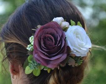 Flower hair clip Floral hair clip Bridesmaid hair accessories Wedding hair clip Bridal hair clip Flower girl hair clip Gift for her Rustic