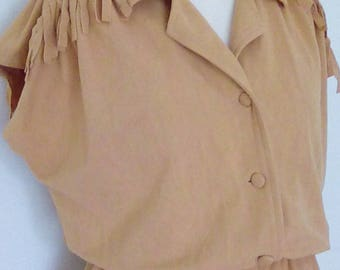 Vintage dress 70s 80s by Acebourne dress western fringed shirt waister size small to medium