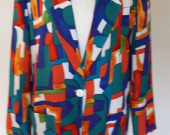Vintage blazer jacket 80s by Patchington Made in USA jacket Over size - medium large extra large