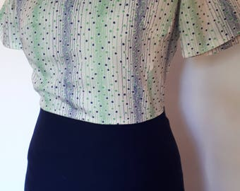 Vintage dress 60s 70s navy wool skirt with green navy spotted bodice and turtle neck tie size medium