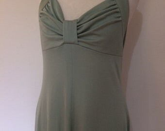 Vintage evening dress maxi 70s pale green halter neck dress small small