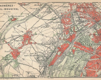 1924 Asnieres Paris France Antique Map