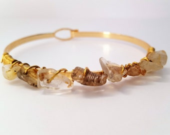 Rutile Quartz gemstone Bangle Bracelet