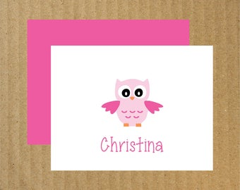 Owl Note Cards, Set of 10, Personalized Owl Note Cards, Personalized Thank You Cards, Owl Stationery, Owl Note Cards, Owl, Thank You Cards