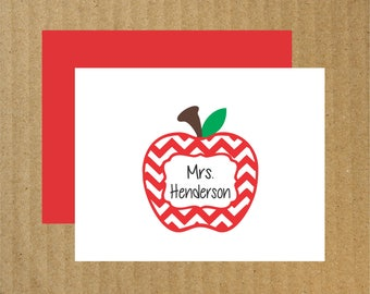 Teacher Note Cards, Set of 10, Chevron Apple Note Cards, Personalized Teacher Note Cards, Apple Note Cards, End of the Year Teacher Gift