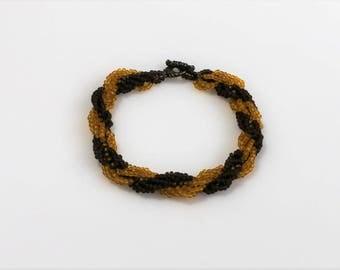 Beaded Bracelet; Seed Bead Bracelet; Gold Seed Bead Bracelet; Brown Beaded Bracelet; Beaded Rope Bracelet