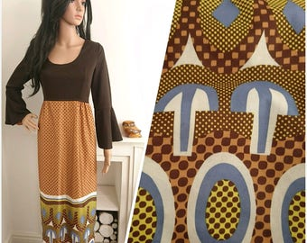 Vintage 60s 70s Brown Abstract Bell Sleeves Psych Maxi Dress Mod Boho / UK 10 12 / EU 38 40 / US 6 8